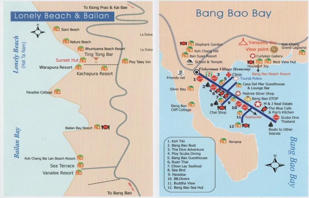 Карта Пляжа Lonely и заливов Bailan и Bang Bao остров Ко Чанг