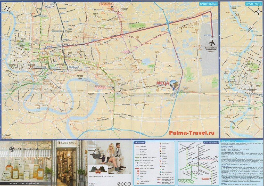 Большая карта Бангкока с отелями и транспортом