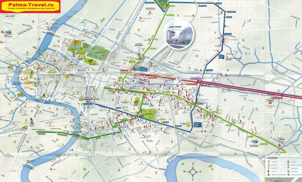Карта Бангкока с отелями и достопримечательностями