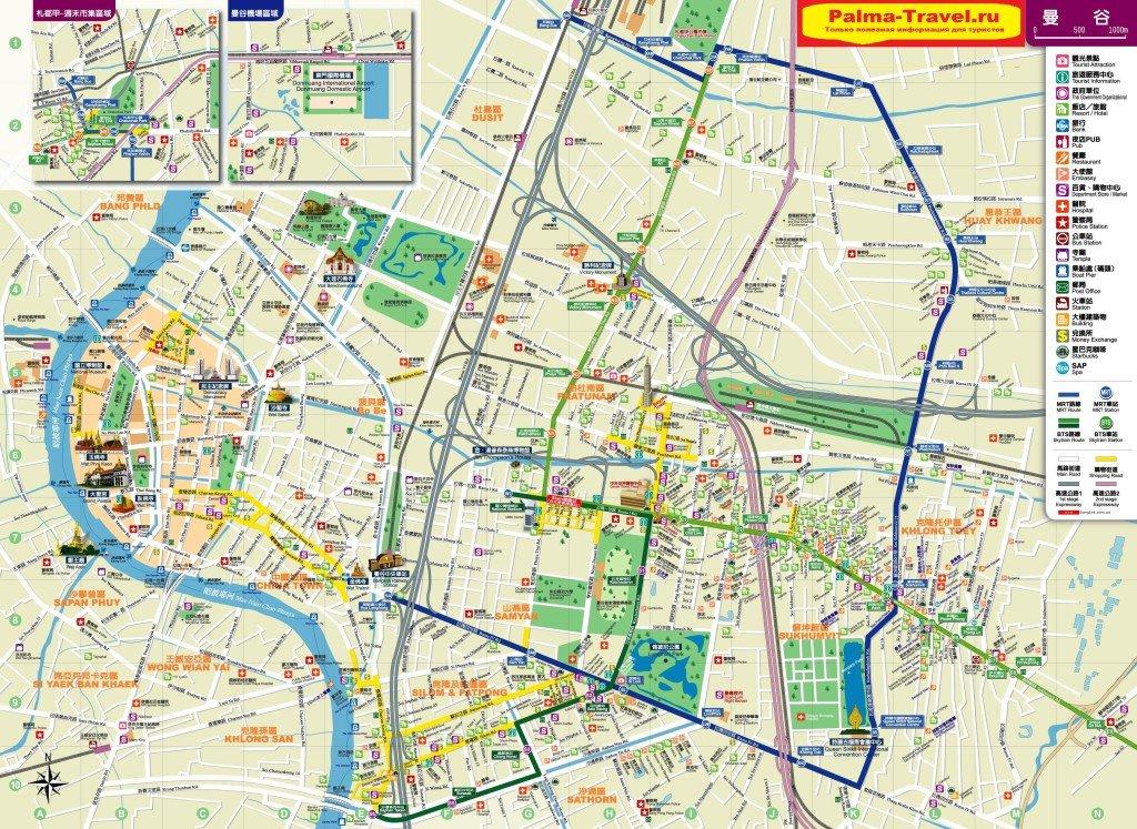 Карта Бангкока в высоком разрешении с достопримечательностями