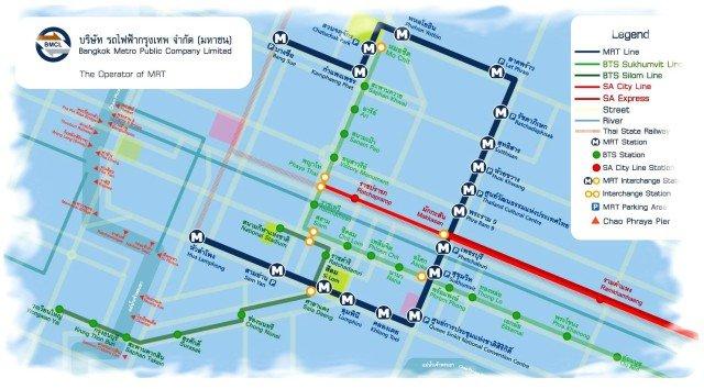 Карта подземного метро Бангкока