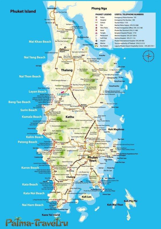 Большая карта Пхукета