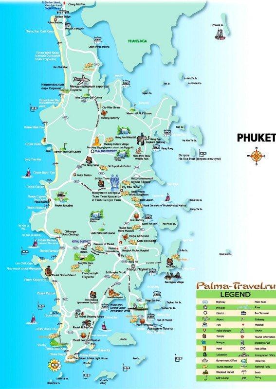 Большая карта Пхукета с достопримечательностями
