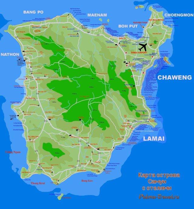 Карта Самуи с отелями 2