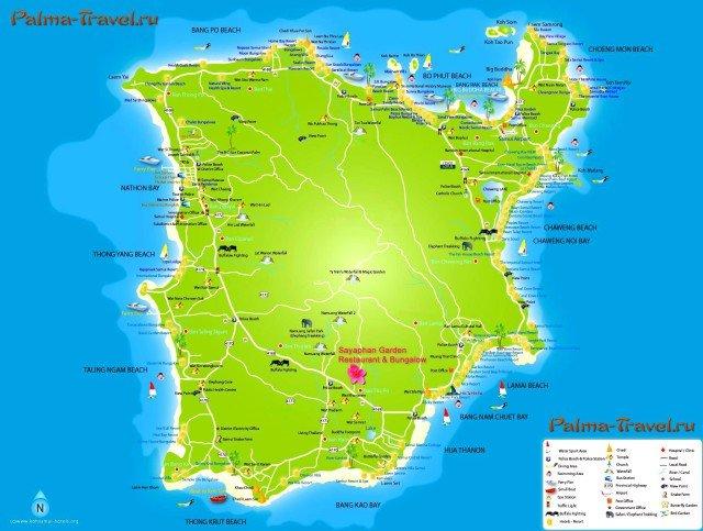Карта Самуи с отелями