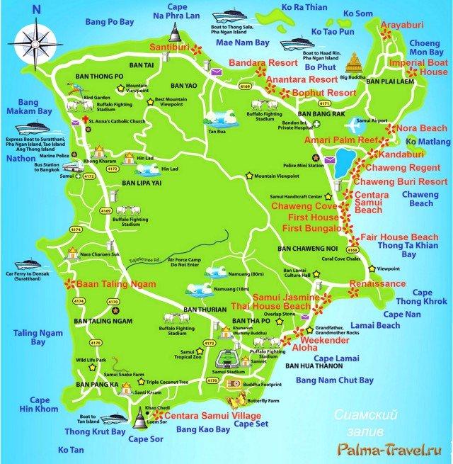 Карта острова Самуи с достопримечательностями