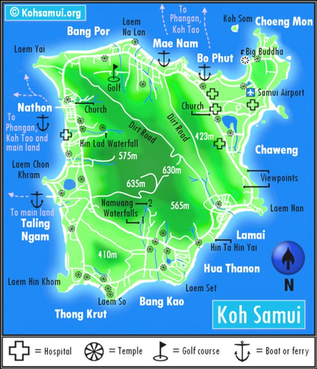 Карта острова Самуи  с пирсами и высотами
