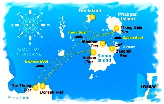 Паром Самуи - карта
