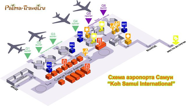 Схема аэропорта Самуи на русском языке