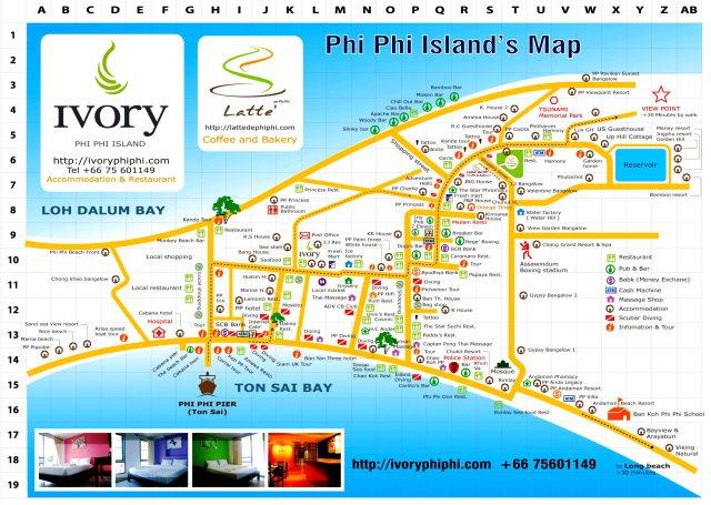 Карта Пхи Пхи поселок в высоком разрешении