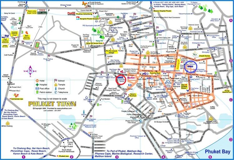 Карта Пхукета с транспортом
