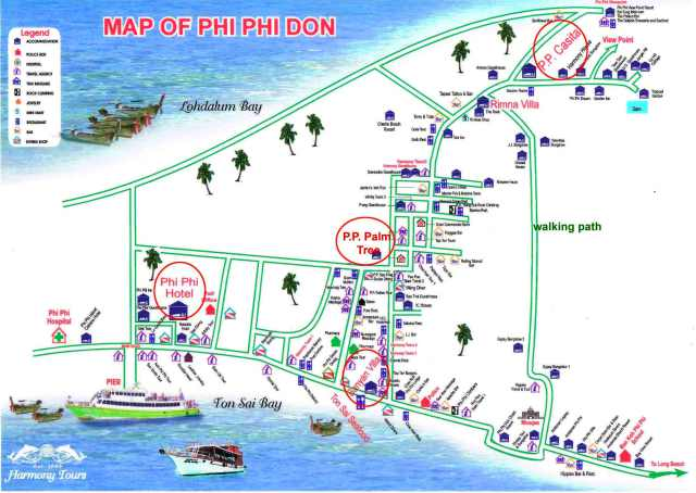 Карта острова Пхи Пхи Дон Тонсай бич