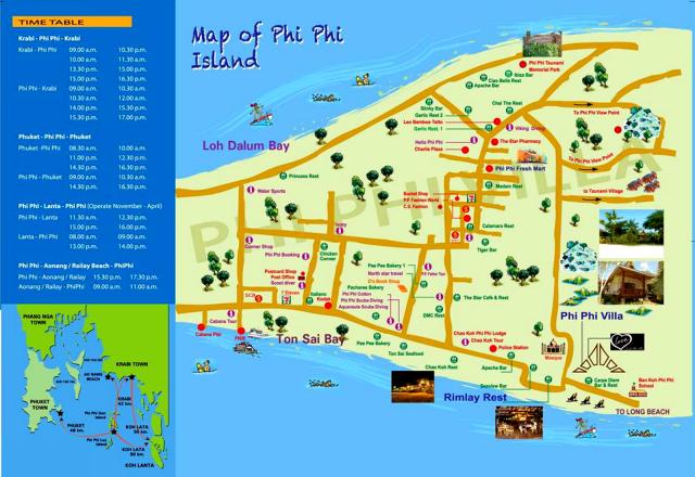 Карта острова Пхи Пхи Дон с расписанием парома