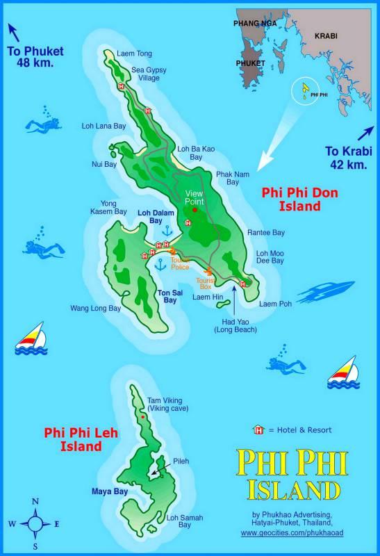 Карта острова Пхи Пхи - расположение в Андаманском море