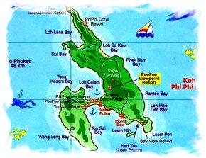Карта острова Пхи Пхи в Таиланде