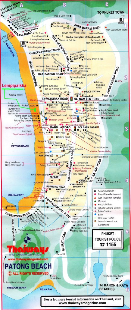 Карта пляжа Патонг Пхукет в высоком разрешении