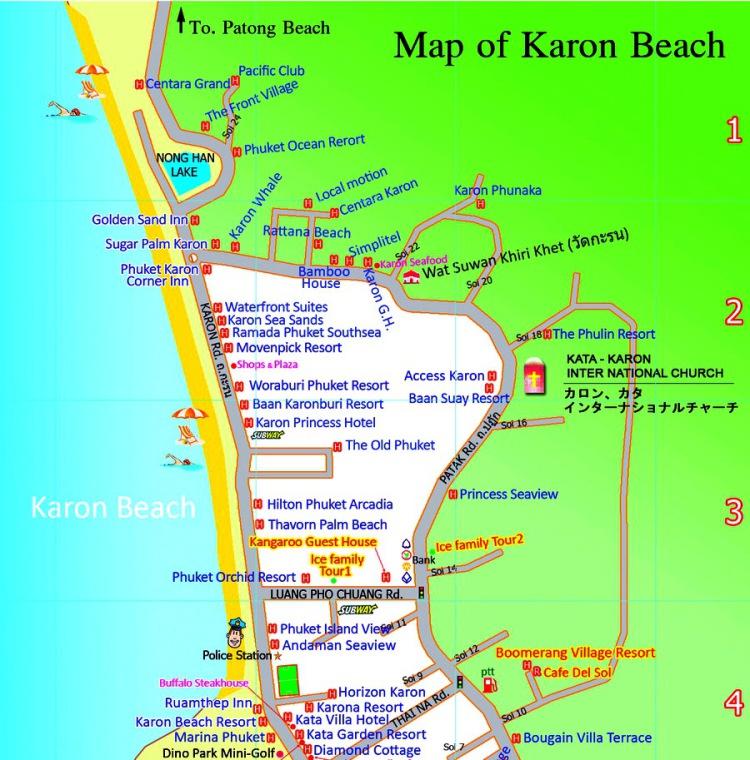 Карта пляжа Пхукета Карон