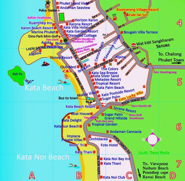 Карта пляжа Пхукета Ката