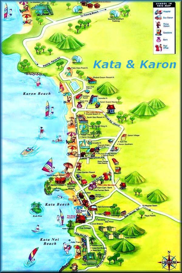 Карта  пляжей Пхукета Карон + ката