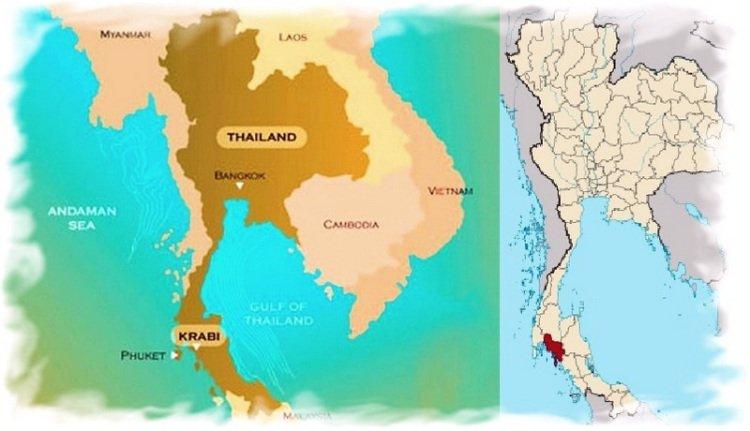 Провинция Краби на карте Таиланда