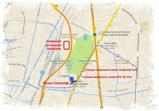 Северный автовокзал  Бангкока  Чатучак бас терминал карта