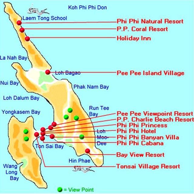 карта острова Пхи Пхи с отелями