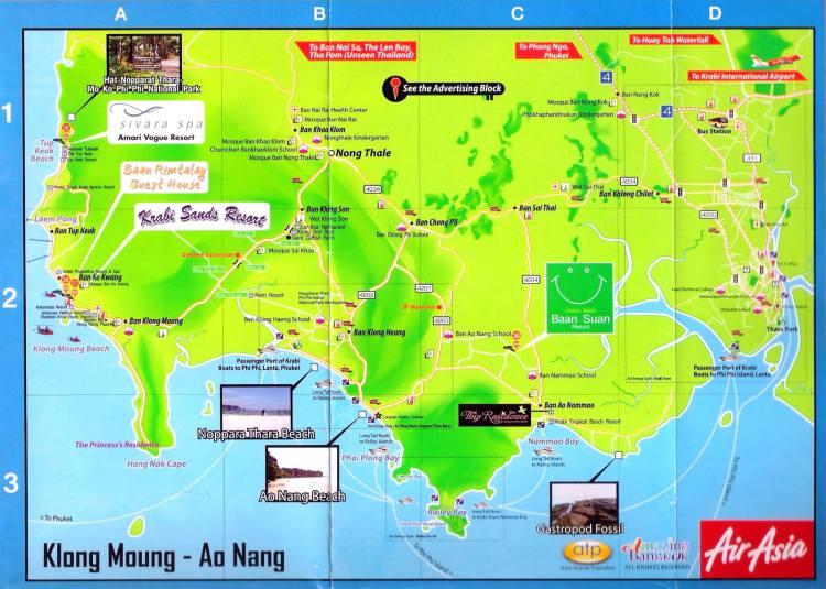 Карта Ао Нанг - общий план курорта