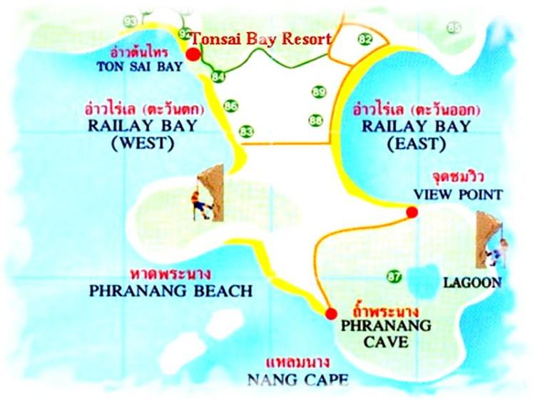 Полуостров Рейли - карта пляжей