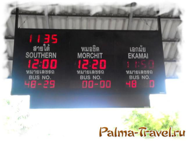 Electronic display at the North Pattaya bus station
