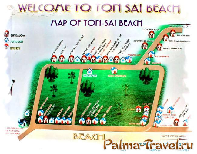 Карта пляжа Тонсай (Ton Sai beach map)