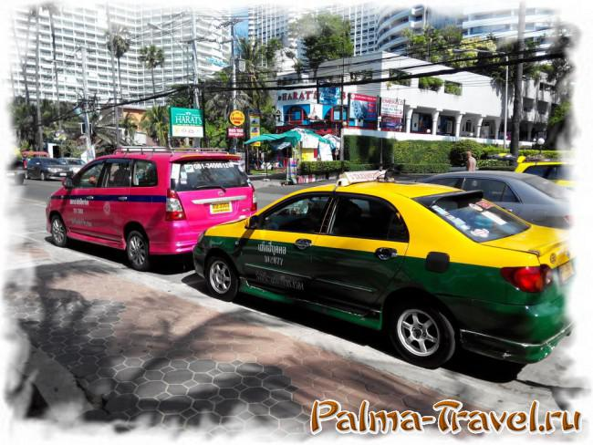 Classical taxi on the street Jomtien Beach in Pattaya