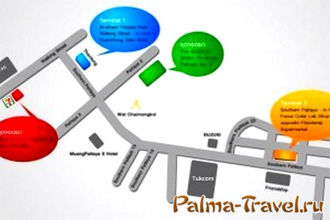 Минибас Паттайя - Бангкок - остановки на карте