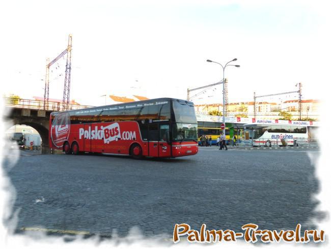Автобус PolskiBus на автовокзале в Праге