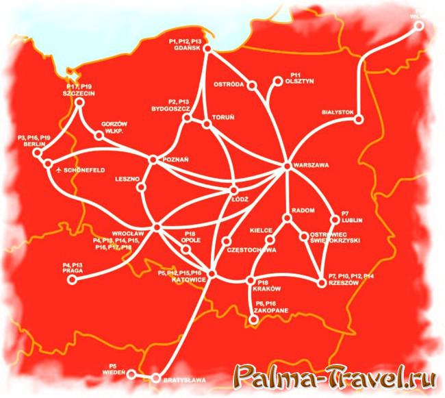 Карта маршрутов PolskiBus (2015 год)