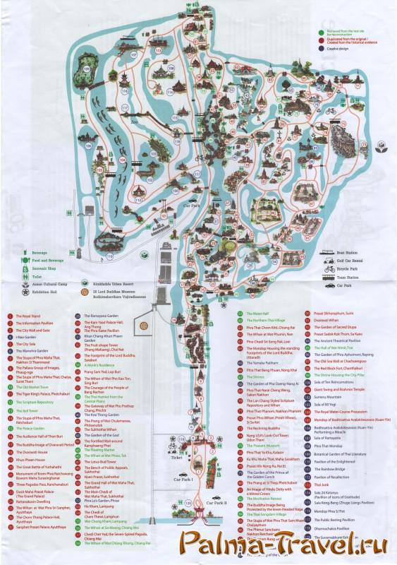 Карта парка Mueang Boran (Ansient City) в высоком разрешении