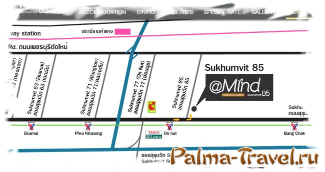 Расположение отеля At Mind Executive Suites  в Бангкоке