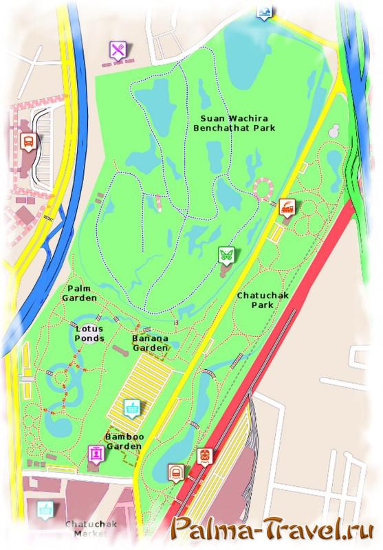 Chatuchak park in Bangkok - a schematic map of the park