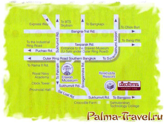 Расположение парка Древний Сиам (Ancient Siam) на карте пригорода Бангкока