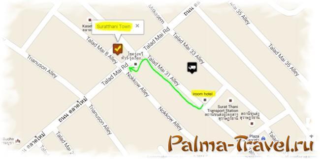 Как добраться из центра Сураттани до Самуи - карта города