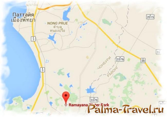 Аквапарк Рамаяна в Паттайе - расположение на карте
