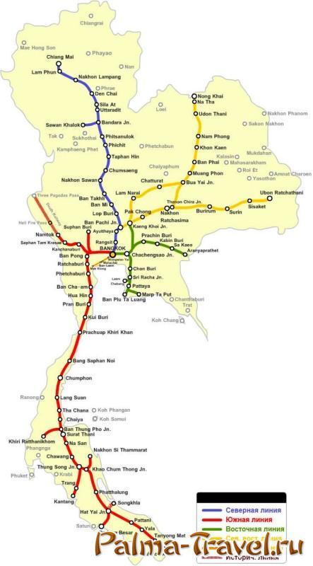 Карта железной дороги в Таиланде в высоком разрешении