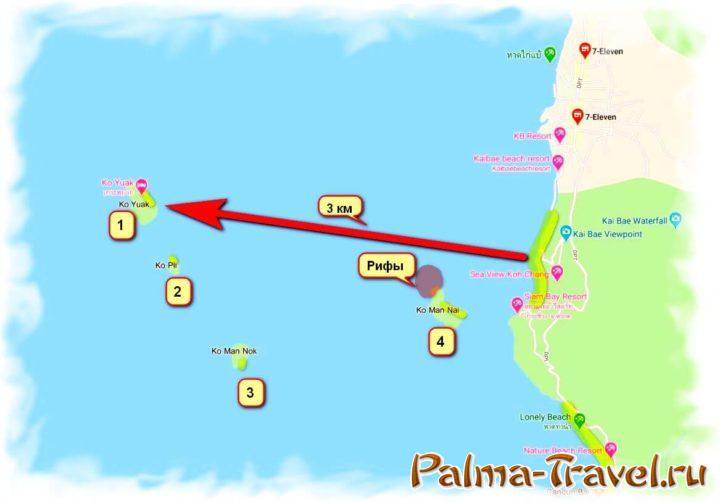 Каякинг на Ко Чанг - карта морской прогулки