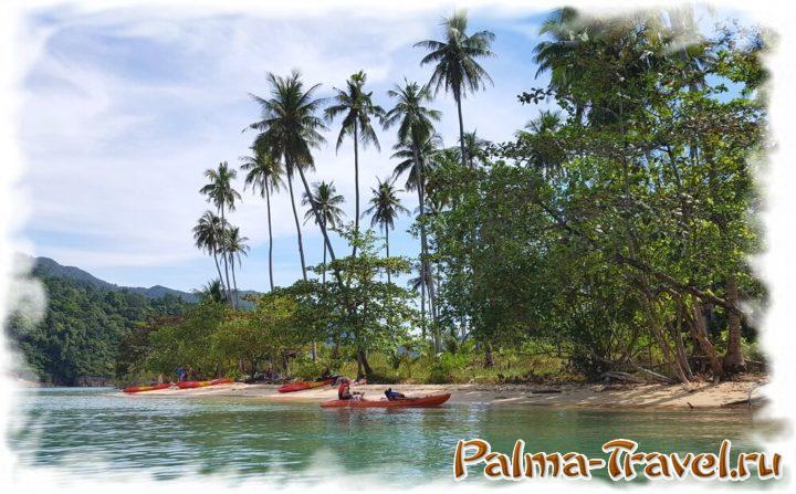 Живописный кокосовый пляж острова Ко Ман Най