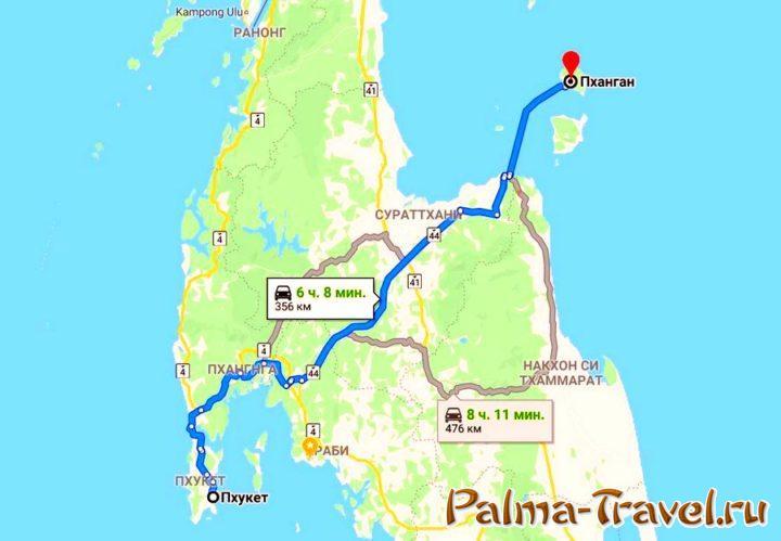 Карта маршрута с острова Пхукет на Ко Панган (Таиланд)